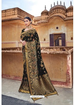 Black Silk Multi Weaving Designer Saree