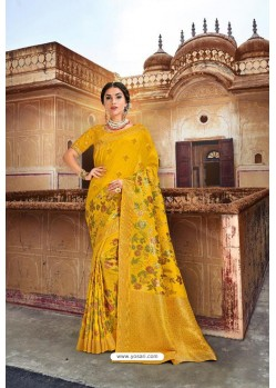 Yellow Silk Multi Weaving Designer Saree