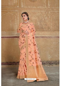 Light Orange Silk Multi Weaving Designer Saree