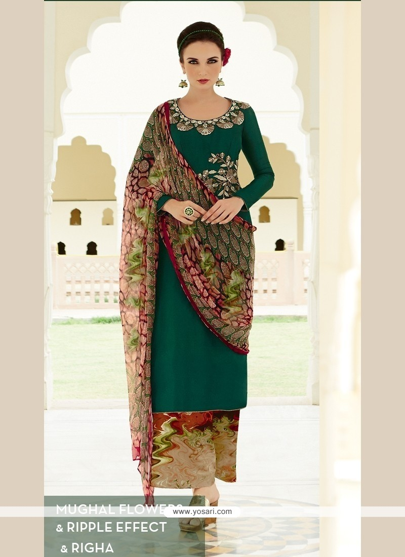 Adorning Resham Work Cotton Satin Designer Palazzo Suit