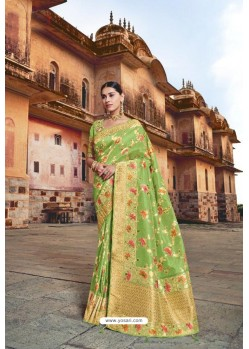 Parrot Green Silk Multi Weaving Designer Saree