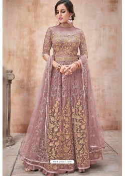 Light Brown Net Heavy Zari Embroidery Anarkali Suit