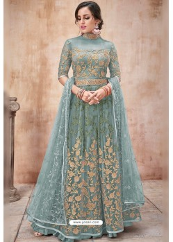 Grayish Green Net Heavy Zari Embroidery Anarkali Suit