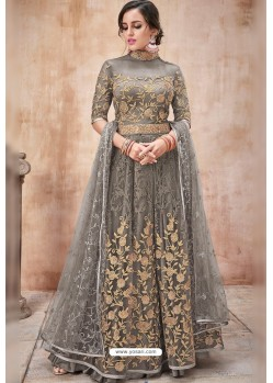 Taupe Net Heavy Zari Embroidery Anarkali Suit