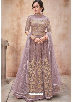 Old Rose Net Heavy Zari Embroidery Anarkali Suit