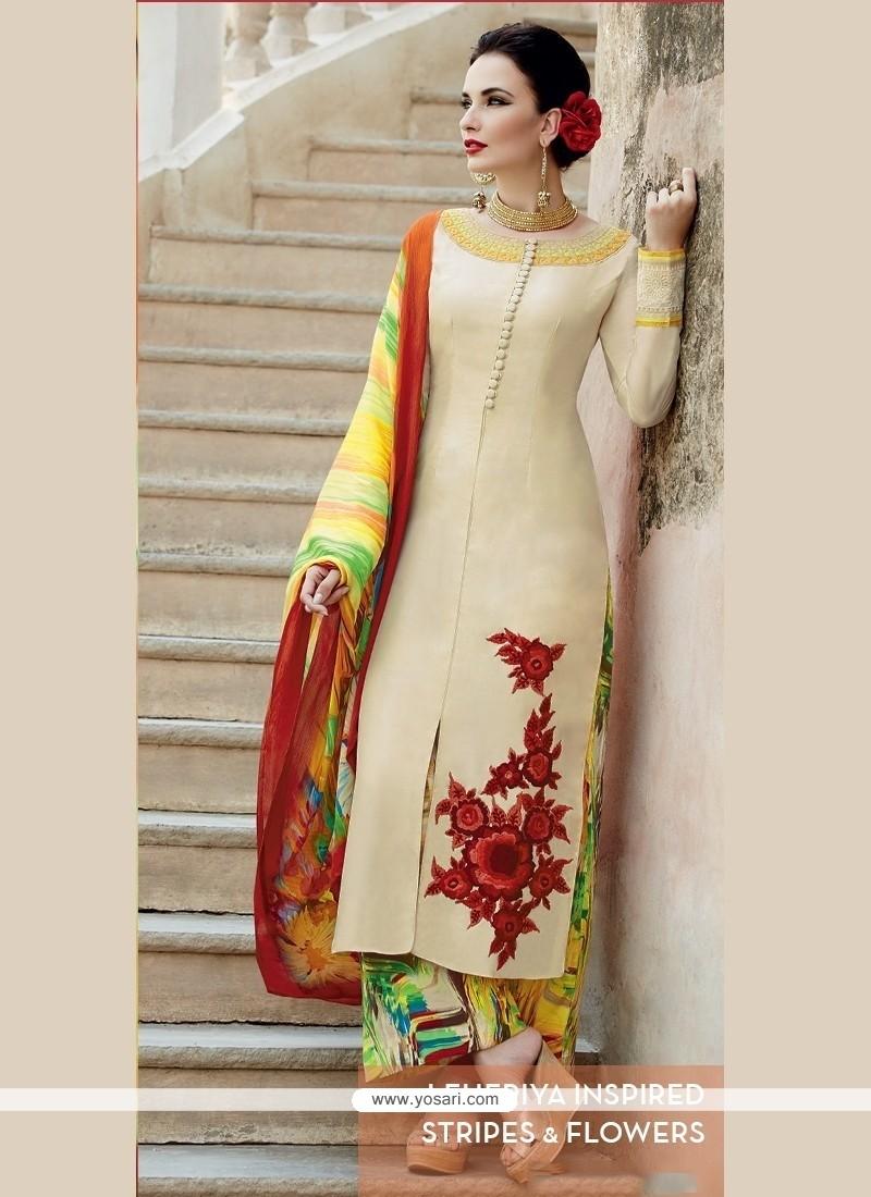 Zesty Cotton Satin Beige Designer Palazzo Salwar Suit