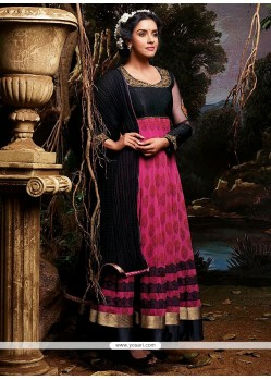Epitome Pink And Black Cotton Anarkali Suits
