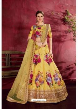 Yellow Heavy Banglori Silk Designer Lehenga Choli
