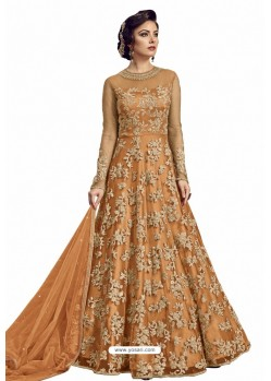 Orange Nylon Handworked Anarkali Suit