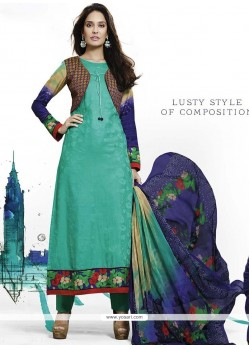 Lisa Haydon Sea Green Jacquard Resham Work Salwar Suit