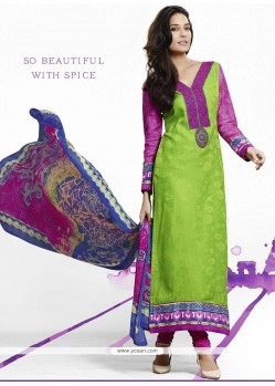 Lisa Haydon Embroidered Work Green Jacquard Designer Straight Salwar Suit