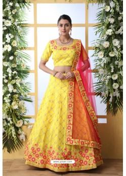 Yellow Art Silk Designer Lehenga Choli