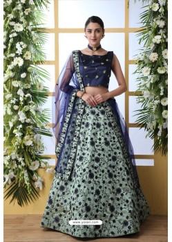 Aqua Mint And Navy Art Silk Designer Lehenga Choli