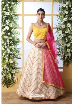 Off White And Yellow Art Silk Designer Lehenga Choli