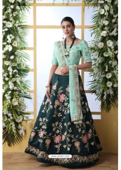 Dark Green Art Silk Designer Lehenga Choli
