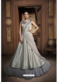Olive Green Net And Barfi Silk Party Wear Gown