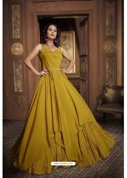 Mustard Barfi Silk Party Wear Gown