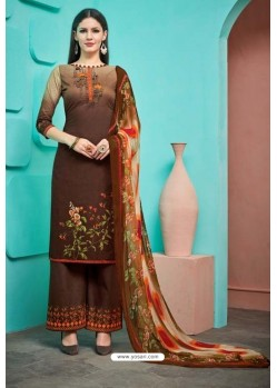 Coffee Pure Cambric Cotton Palazzo Suit