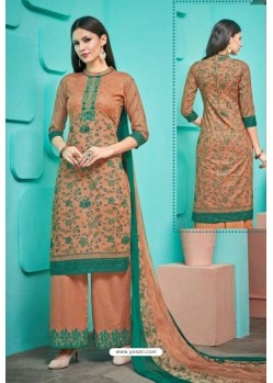 Rust Pure Cambric Cotton Palazzo Suit