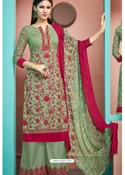 Green Pure Cambric Cotton Palazzo Suit