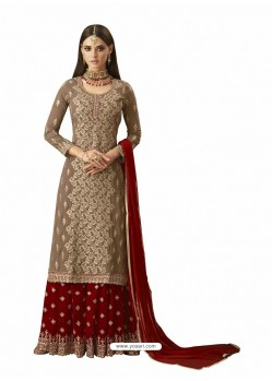Red And Gold Georgette Handworked Anarkali Suit