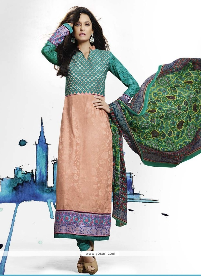 Lisa Haydon Green And Peach Designer Straight Salwar Kameez