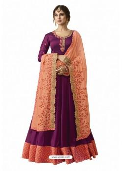 Purple Satin Georgette Hand Worked Anarkali Suit