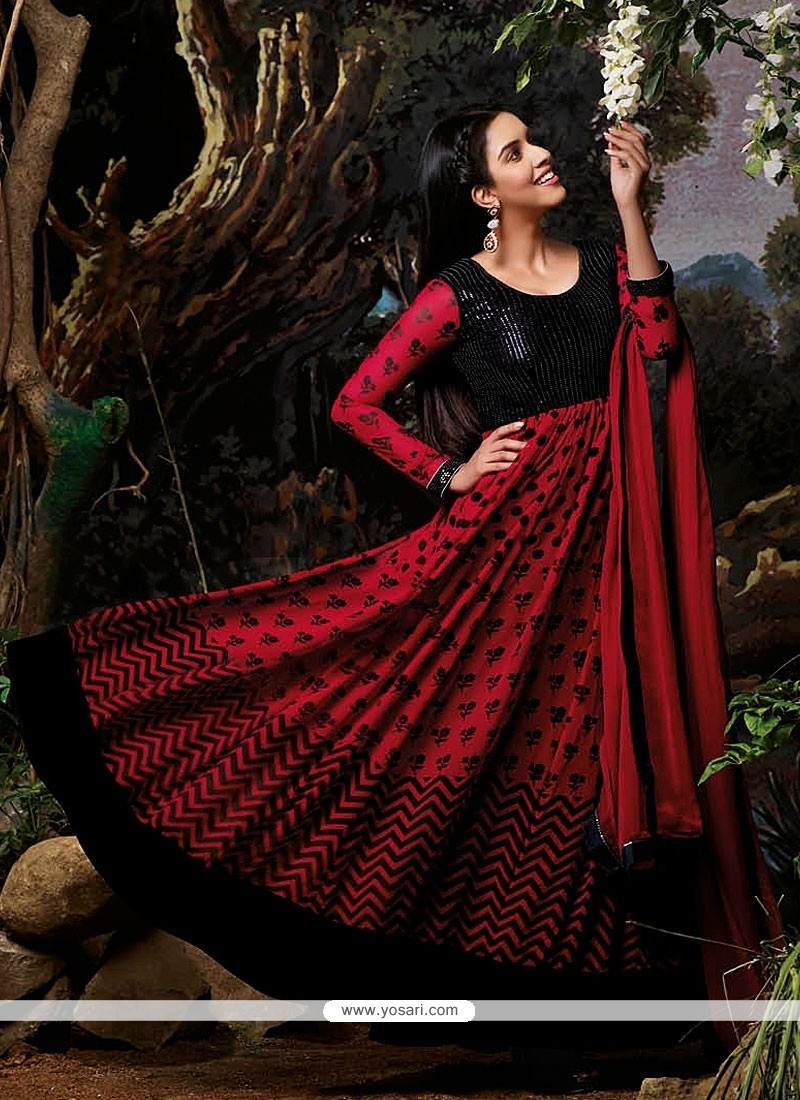 Desirable Red Faux Georgette Anarkali Salwar Suit