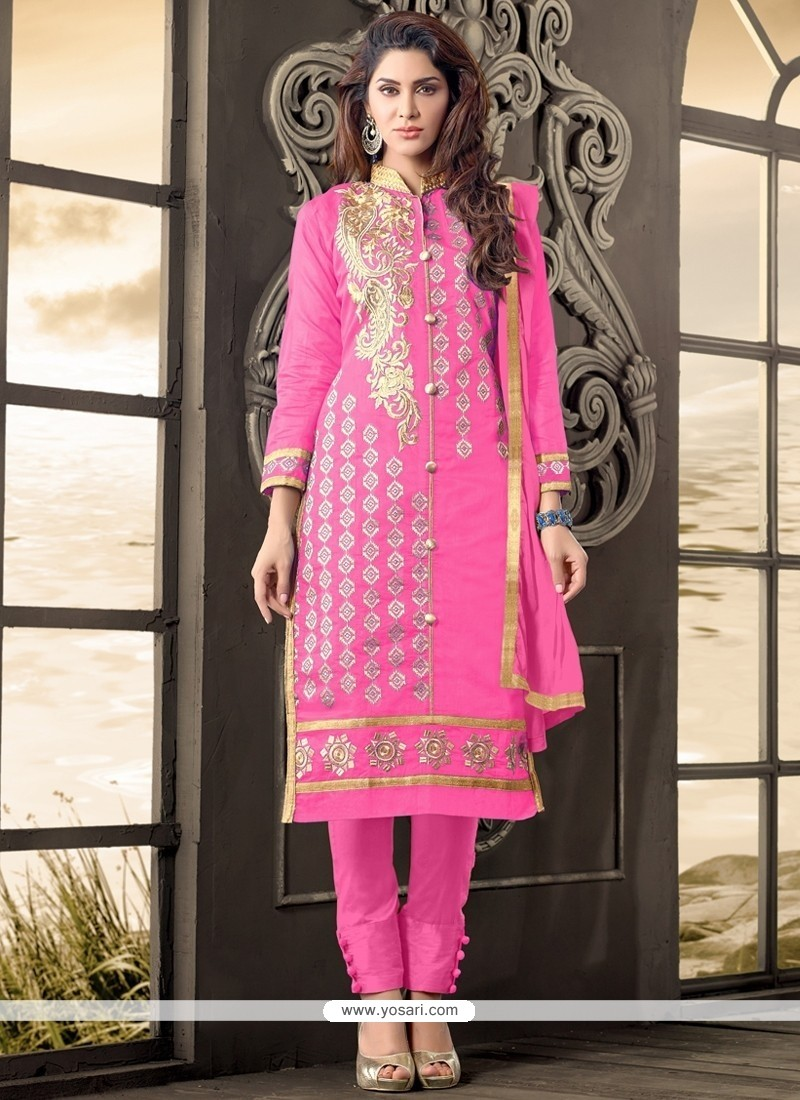 Immaculate Hot Pink Zari Work Cotton Salwar Kameez