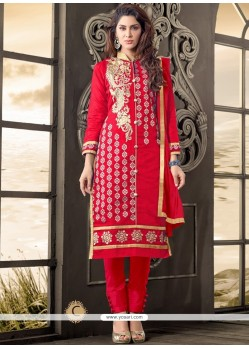 Charismatic Cotton Red Salwar Kameez