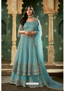 Sky Blue Net Thread Worked Designer Anarkali Suit