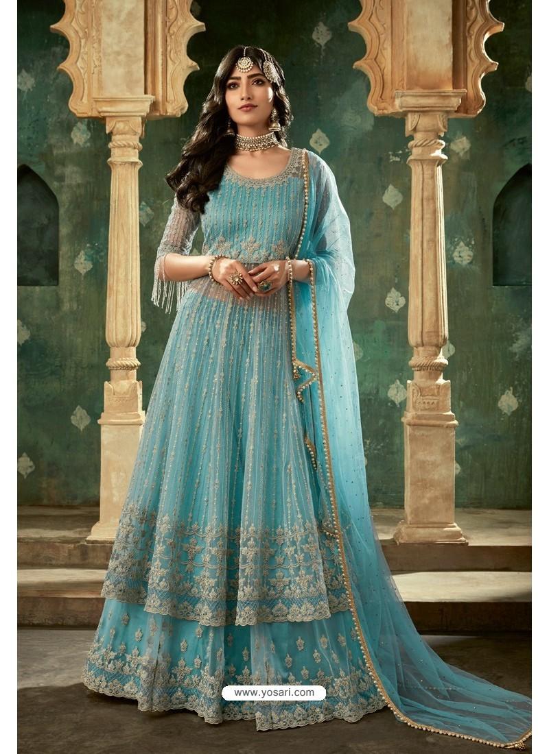 Sky Blue Net Thread Worked Designer Anarkali Suit