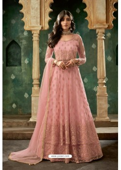 Pink Net Thread Worked Designer Anarkali Suit