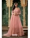 Pink Net Thread Worked Designer Anarkali Suit