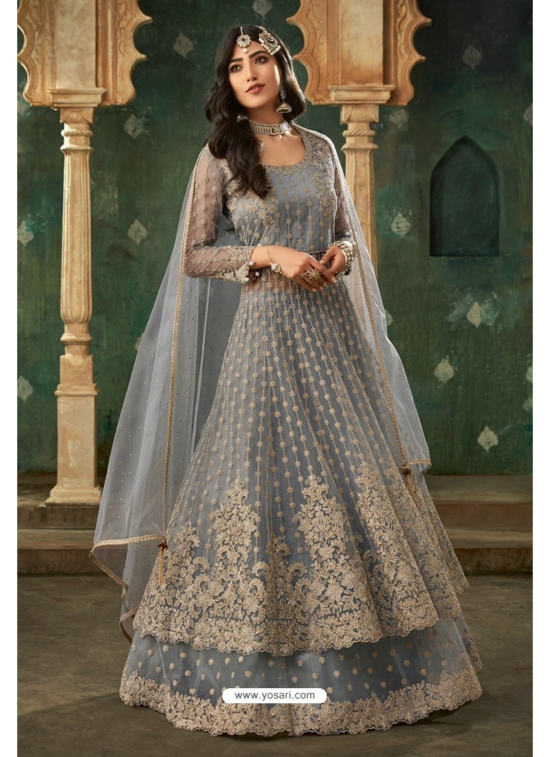 Light Grey Net Thread Worked Designer Anarkali Suit