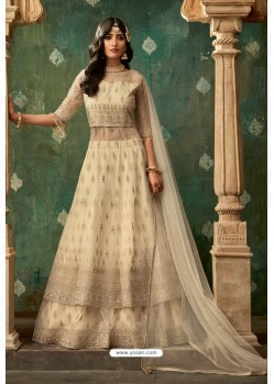 Cream Net Thread Worked Designer Anarkali Suit