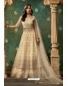 Cream Net Thread Worked Designer Anarkali Suit