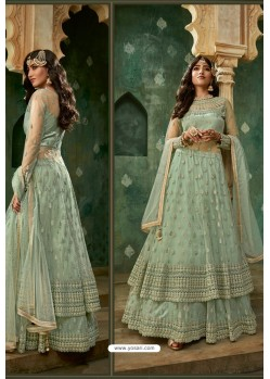 Sea Green Net Thread Worked Designer Anarkali Suit