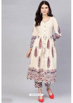 Cream Cotton Designer Kurti