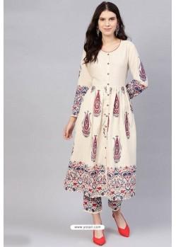 Cream Cotton Designer Kurti