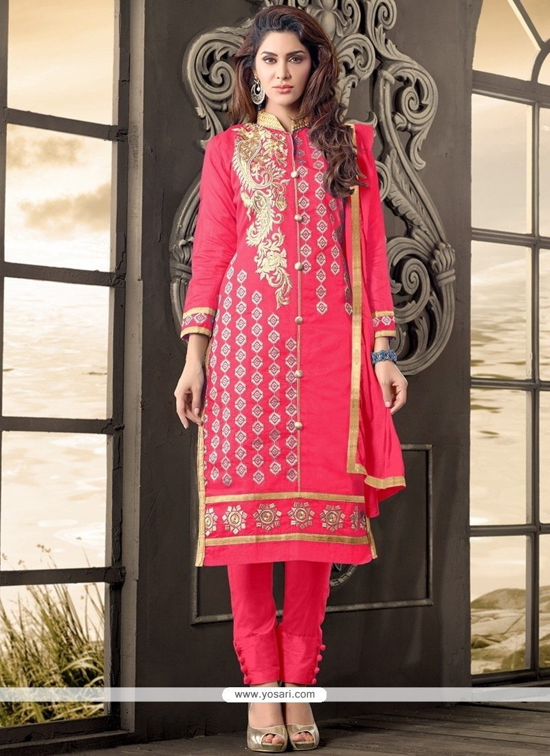 Extraordinary Cotton Hot Pink Embroidered Work Designer Salwar Kameez