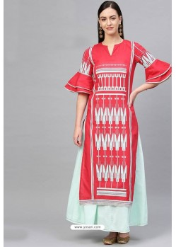 Red And Sky Blue Cotton Designer Kurti
