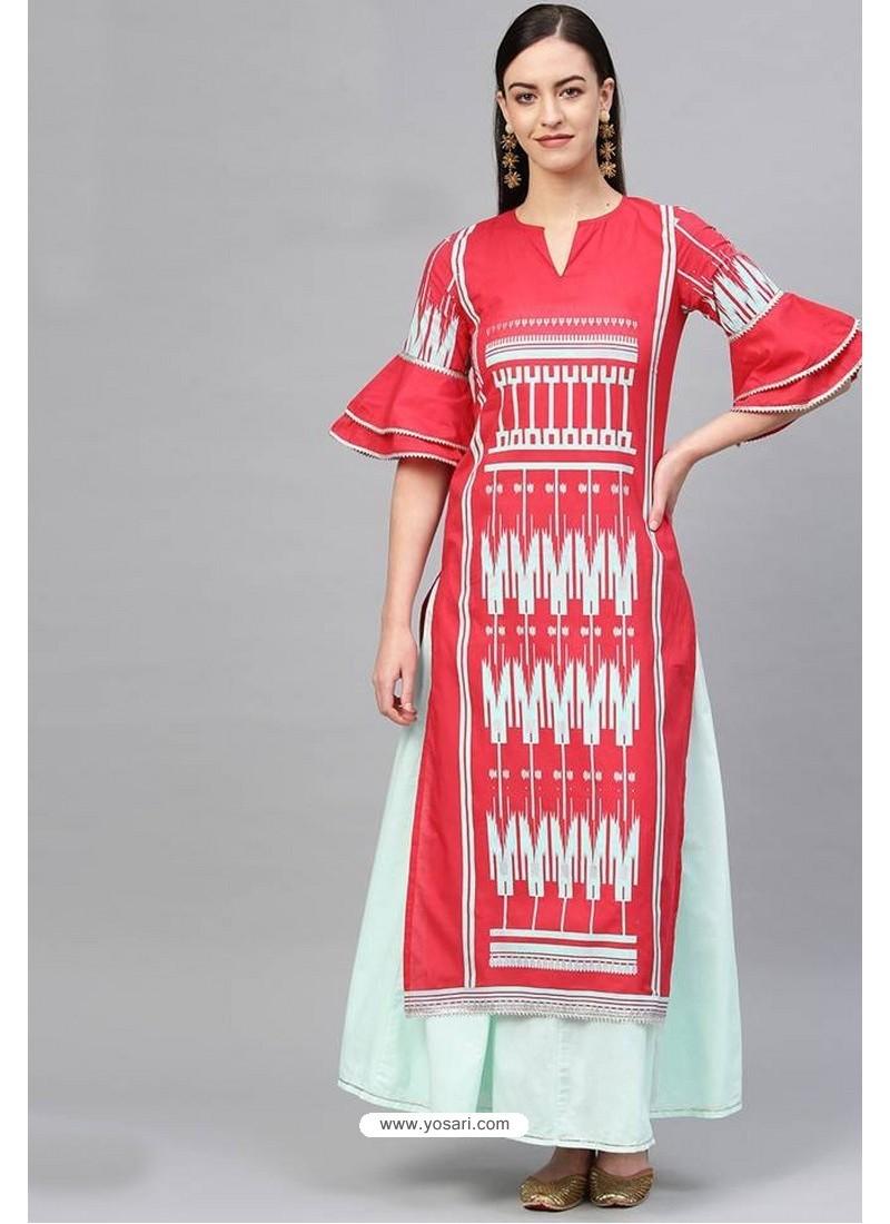 Red And Sky Blue Cotton Designer Kurti