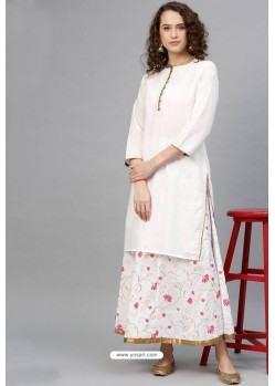 White Cotton Designer Kurti