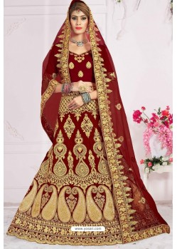 Latest Maroon Velvet Zari Embroidered Lehenga Choli