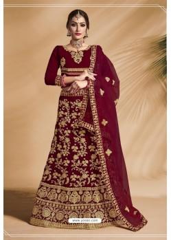 Lovely Maroon Velvet Zari Embroidered Lehenga Choli
