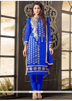 Beauteous Cotton Blue Salwar Kameez