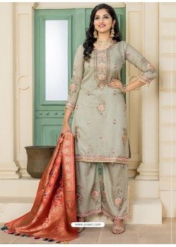 Olive Green Pashmina Embroidered Straight Suit