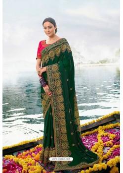 Dark Green Barfi Silk Embroidered Designer Saree