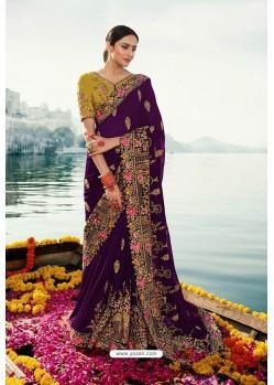 Purple Barfi Silk Embroidered Designer Saree